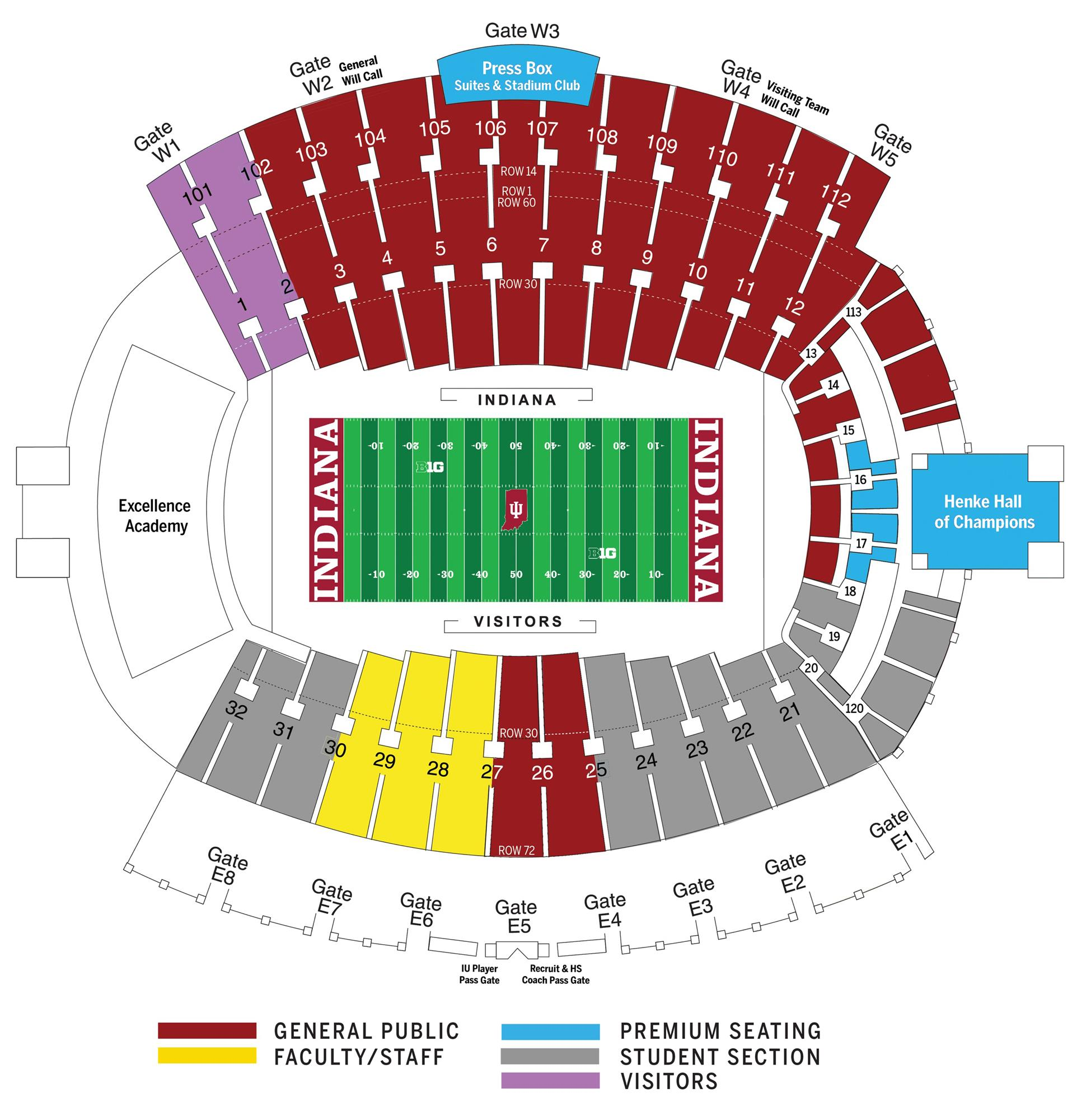 Indiana University Athletics Official Website F250 7 3l Wiring Diagram Blower Seating Chart Memorial Stadium